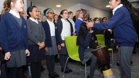 Local children from St Helens primary school performed together at the Holocaust memorial day at the
