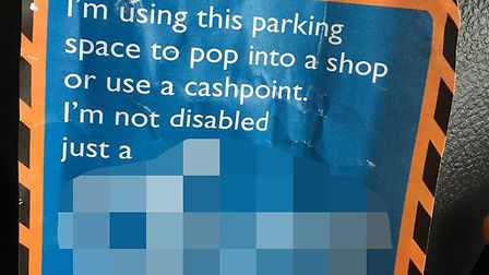 Eleanor Jamison was upset to find this note on her car after accidentally parking in a disabled spot
