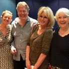 The team at the recording: Producer Claire Jones, Roger Allam, Joanna Lumley, and writer Jan Etherin