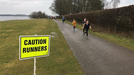 Runners nearing the finish of the Rutland Water parkrun, staged by the edge of the reservoir. Pictur