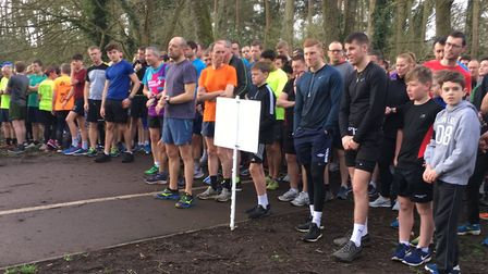 A big field assembles on the start-line for the Rickmansworth parkrun. Picture: CARL MARSTON