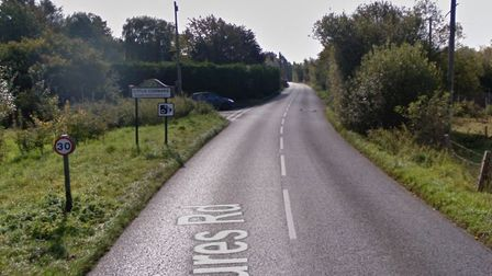 The B1508 is blocked after a collision between four cars. Picture: GOOGLE MAPS