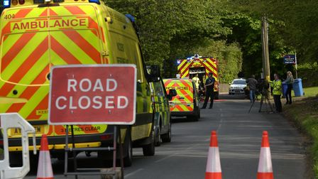 Emergency services in the aftermath of the explosion at the bungalow in Lidgate. Picture: SARAH LUCY
