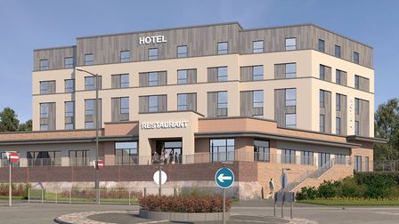 Artist's impression of the front view of the proposed hotel and restaurant in Sudbury. Picture: BABE