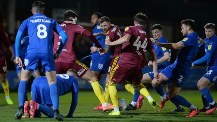 Ipswich have a first half chance at AFC Wimbledon Picture Pagepix