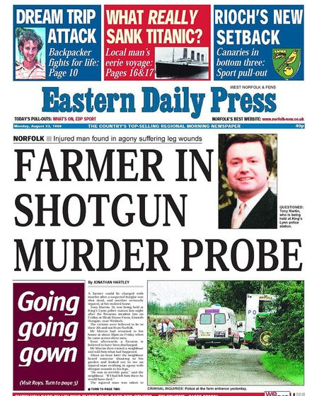 The front page of the Eastern Daily Press after the shootings in 1999. Picture: ARCHANT