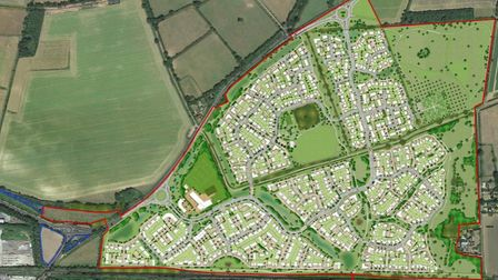The proposed masterplan for Great Barton which would see up to 1,375 new homes built on agricultural
