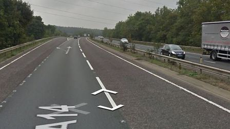 Police and ambulance crews are at the scene of a collision on the A14 near Needham Market Picture: