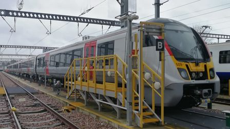 The first new Aventra train has arrived at Greater Anglia's Ilford depot for testing. Picture: Great
