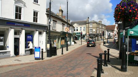 Stowmarket town centre needs more to bring visitors in, says Mid Suffolk's Green group. Picture: MAR