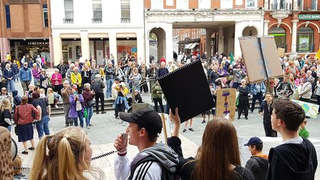 Global Climate Strike protests on the Cornhill in Ipswich Picture: RACHEL EDGE
