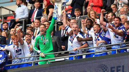 Tranmere Rovers players celebrate winning the League Two play-offs last May. Photo: PA