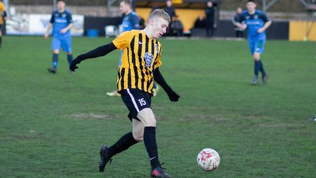 George Quantrell on the ball during Stowmarket Town's 7-1 home win over Ely City. Picture; HOGAN COB