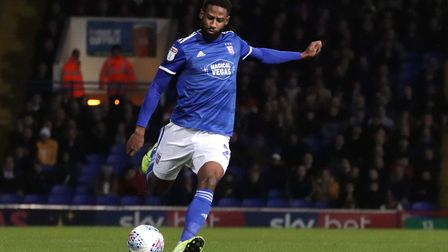 Janoi Donacien in action during Town's 0-0 draw with Wycombe at Portman Road Photo: ROSS HALLS