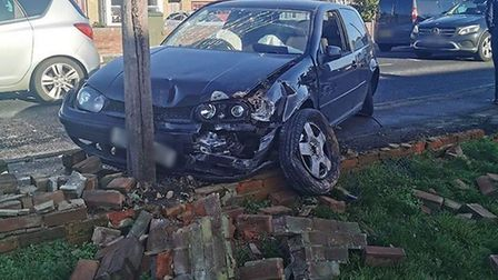 The vehicle collided with four other vehicles, before hitting a wall. Picture: DENISE JOANNE CARLTON