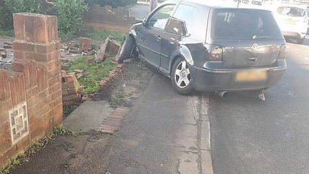 The car collided with a wall after hitting four other vehicles. Picture: DENISE JOANNE CARLTON
