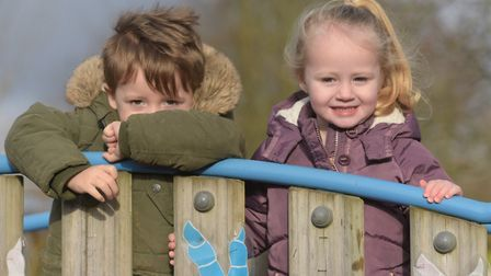 Alfie and Elisia having fun in the playground Picture: SARAH LUCY BROWN