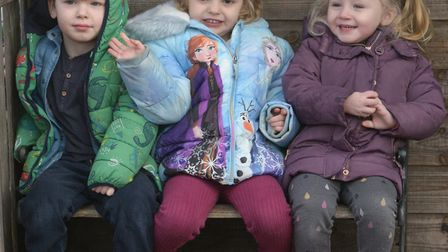 Axel, Scarlett and Elisia having fun in the playground Picture: SARAH LUCY BROWN