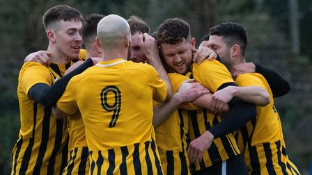 Stowmarket Town celebrate a goal during their 3-0 win over Glebe in the FA Vase on Saturday, with To