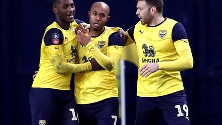 Oxford United's Rob Hall celebrates scoring against Hartlepool in the FA Cup. Photo: PA