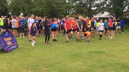 Runners assemble for the start of the first-ever Thomas Mills parkrun, in Framlingham. Picture: CARL