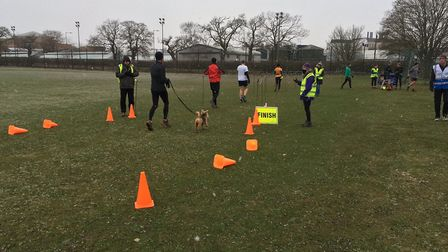 Runners in the finishing funnel at the Colney Lane parkrun, held at UEA in Norwich. Picture: CARL MA