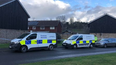 Forensic Services vans arriving at the scene in Brickfields Avenue Newmarket Picture: ARCHANT