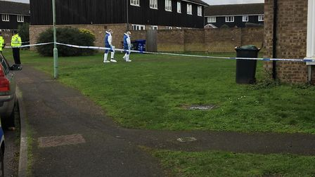 Forensics officers arriving in Brickfields Avenue, Newmarket Picture: JAMES WATERS
