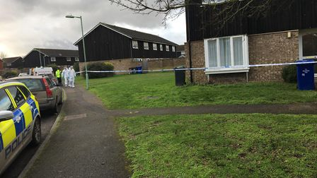 Forensic officers approaching a property in Brickfields Avenue Newmarket Picture: JAMES WATERS