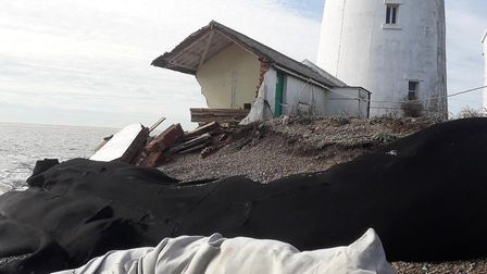 The bungalow next to the lighthouse at Orfordness collapsed in October 2019 after strong winds Pictu