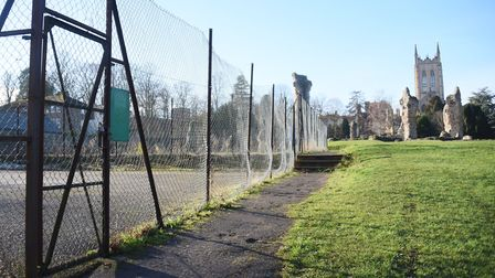 The old tennis courts at Abbey Gardens by Bury St Edmunds Cathedral, where work is soon to start to
