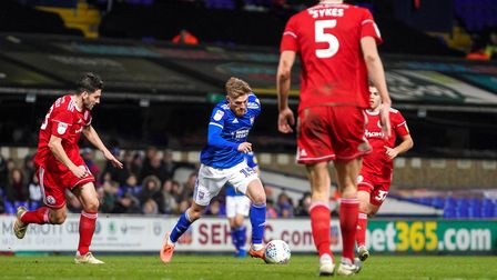 Teddy Bishop on the ball after coming on as a substitute against Accrington Stanley.Picture:
