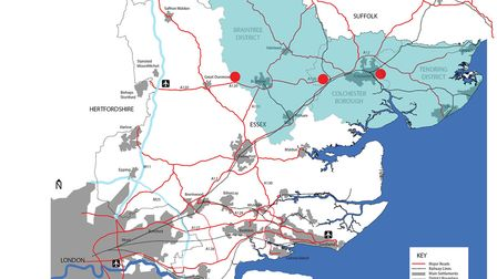 North Essex map showing the possible locations of three new Garden Village developments, providing t