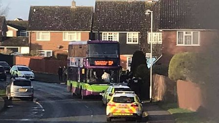 Police responded to an incident in Capel St Mary this morning. Picture: ALAN MARSHALL