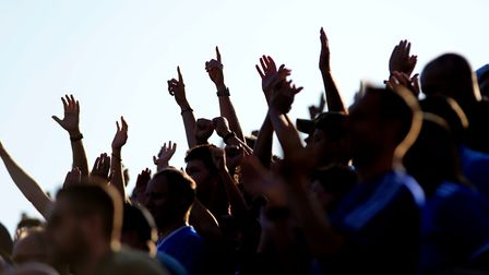 Ipswich fans celebrate at the final whistle at Gillingham Picture Pagepix