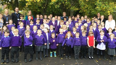 Yoxford and Peasenhall Primary celebrate the school's improved Ofsted rating Picture: YOXFORD AND PE