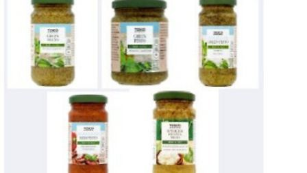 A variety of pesto products are being recalled from Tesco. Picture: SUFFOLK TRADING STANDARDS