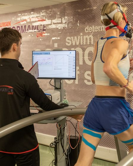 Helen Davies being put through her paces at Essex University. Picture: PAVEL KRICKA
