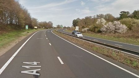 A pedestrian was hit by a lorry last night on the A14 Picture: GOOGLE MAPS