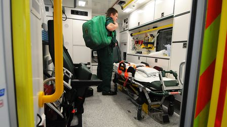 One of the ambulances was in use when Perry tried to steal a second bottle Picture: JAMES BASS
