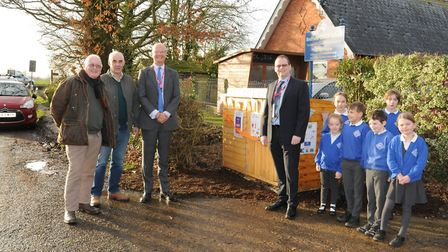 Parish councillors Geoff Robinson and Keith Frost, county councillor Matthew Hicks and EDF's Jon Yat