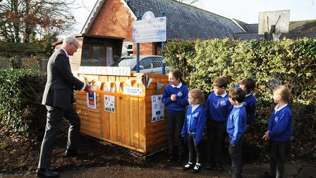 County councillor Matthew Hicks opens the new recycling centre Picture: BEDFIELD CEVC PRIMARY SCHOOL