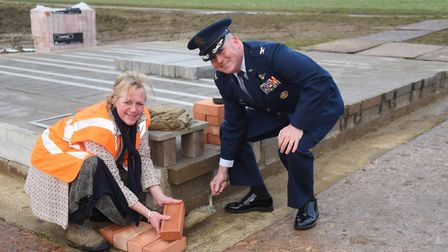 Col Will Marshall, 48th Fighter Wing commander at RAF Lakenheath, and landowner Alice Pawsey turn th