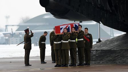 Players from Newmarket Rugby Club attended the repatriation of Private Robert Hayes at RAF Lyneham,