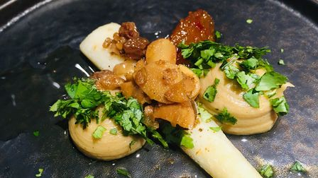 Braised parsley root with coconut and parsley puree, pineapple and chilli jam and coronation dressin