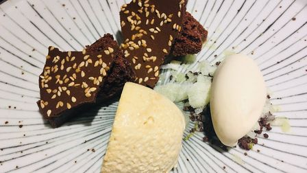 Sesame mousse with miso caramel cream, aerated chocolate, baked caramel and frozen lime Picture: Ch
