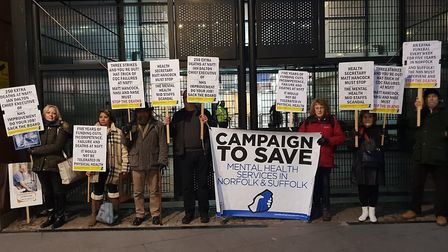 Campaign to Save Mental Health Services in Norfolk and Suffolk protest in London. Photo: Campaign to