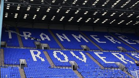 The blue-and-white decked Kop Stand at Tranmere Rovers' Prenton Park.