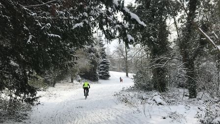 A cyclist braves the cold weather and leaves a track in the snow in Holywells Park. Photo taken in 2