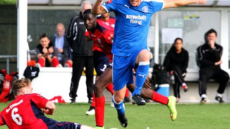 John Sands netted twice in Leiston upset 2-1 win at Tamworth. Picture: JAMES AGER